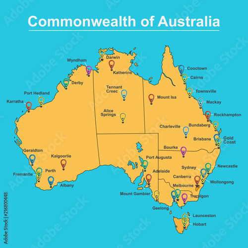 Buy Map Of Australia.Map Of Australia With Major Towns And Cities Vector Illustration