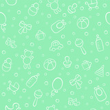 Baby. Newborn. Cute seamless pattern in doodle and cartoon style. Vector background for printing, banner, photo album and other