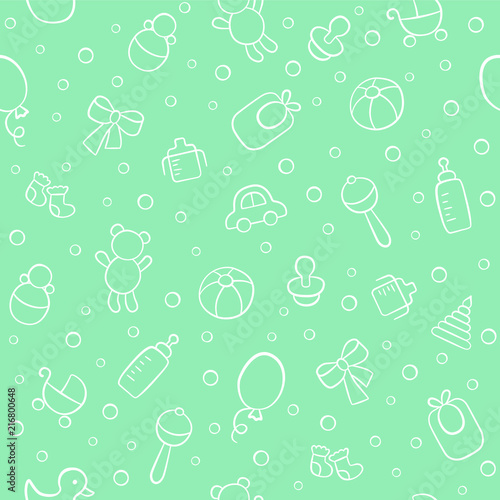 obraz lub plakat Baby. Newborn. Cute seamless pattern in doodle and cartoon style. Vector background for printing, banner, photo album and other