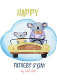 Panda watercolor illustration, love daddy, happy, father's day