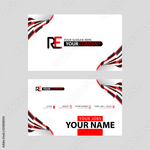 Logo RE design with a black and red business card with horizontal and modern design.