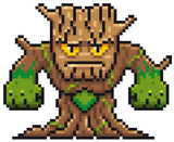 Vector illustration of Cartoon Tree Monster - Pixel design
