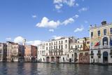 Dusk on the Grand Canal, Cannaregio, Venice, Veneto,  Italy with historical Venetian palaces, palazzos