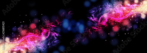 Dark abstract bokeh background, magic smoke and sparks, neon - 216815421