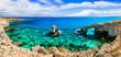 Leinwanddruck Bild - Beautiful nature and  cystal clear waters of Cyprus. arch bridge near Agia Napa