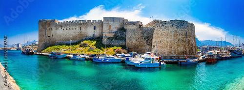 Fotobehang Freesurf Landmarks of Cyprus - medieval fortress in Kyrenia, turkish part of northen Cyprus