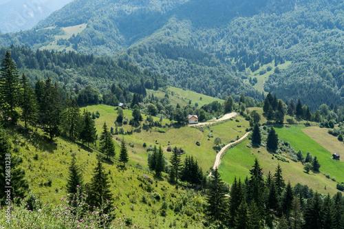 Aluminium Blauwe jeans Mountain landscape and villages on the Rucar Bran corridor, in Transylvania, Romania