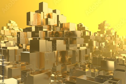Wealth rich concept idea Golden city at sunset rays Abstract space background.3D illustration rendering - 216832661