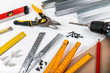 Leinwanddruck Bild - tools and equipment for plasterboard mounting