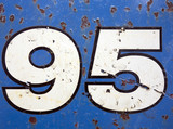 Written Wording in Distressed State Typography Found Number Ninety Five 95
