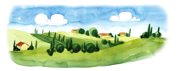 Watercolor illustration of small village in Europe. Alpine landscape © Inky Water