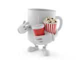 Mug character with popcorn and soda - 216834468