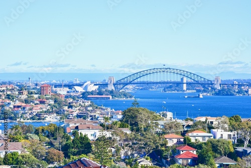 Foto Murales View of Sydney City with Sydney Opera House and Harbour Bridge