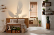 Shadow on the wall above a bed in a modern bedroom interior with wooden shelves, boxes and plants. Real photo