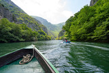 Macedonia Canyon Matka Boat Ride in the valley in Summer