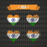 India heart with flag inside. Grunge vector graphic symbols