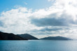 Quadro Sounds and hills in the horizon in the pacific cook strait in New Zealand