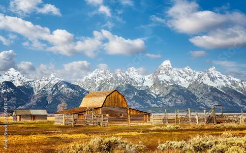 Teton Range with Moulton Barn in the Grand Teton National Park, Wyoming, USA. - 216847050
