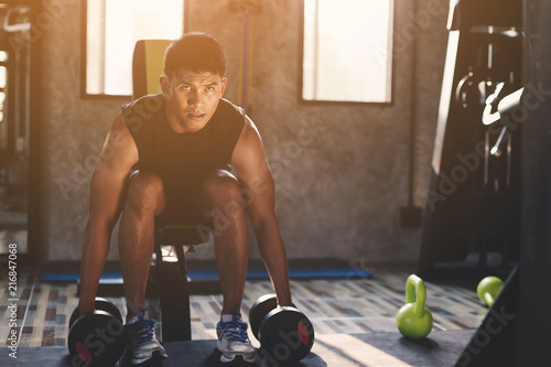 Poster healthy people workout and building body at gym