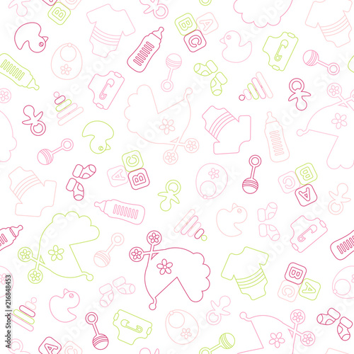 Seamless Baby Pattern Symbols Girl Outline - 216848453