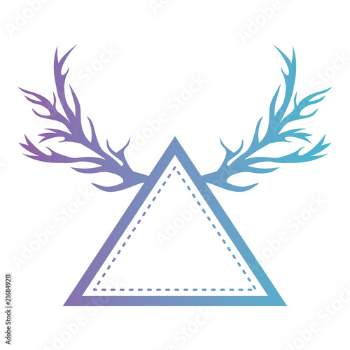 triangle with horns reindeer vector illustration design