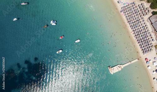 Foto Spatwand Groen blauw Beach at Ammouliani island at Chalkidiki, Greece