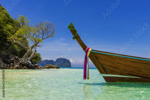 Plexiglas Tropical strand Long tail-Boot auf Bamboo-Island, Thailand