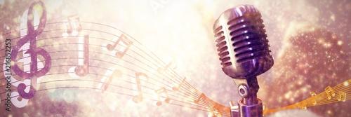 Leinwandbild Motiv Composite image of close-up of microphone