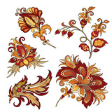 set of vintage decorative flowers with leaves - 216852404