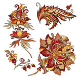 set of vintage decorative flowers with leaves - 216852416