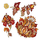 set of vintage decorative flowers with leaves - 216852429