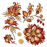 set of vintage decorative flowers with leaves - 216852444