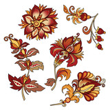 set of vintage decorative flowers with leaves - 216852454
