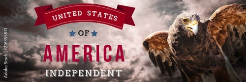 Foto Murales Composite image of independence day graphic