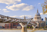 The millennium bridge with the St Paul Chatedral on the background