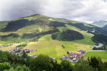 Rainbow over valley with Schattberg Mountain in background, Saalbach-Hinterglemm, Alps, Zell am See district, Salzburg federal state, Austria  © josefkubes