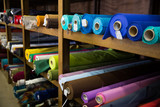 Variety of fabric bolts in shop
