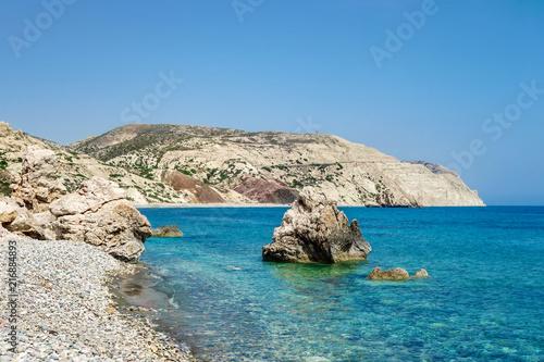 In de dag Cyprus Aphrodite's Rock beach near Cyprus island