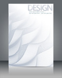 Abstract wavy lines background with grey & white colors, ideal for business, brochure cover designs. - 216885873