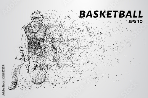 Basketball player leads the ball. Sports illustration in point style. Basketball player of the particles.