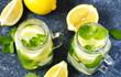 Leinwandbild Motiv Mason jar glass of lemonade with mint on blue stone background