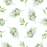 Watercolor hand painted seamless pattern of green leaves and  branches.. - 216892220