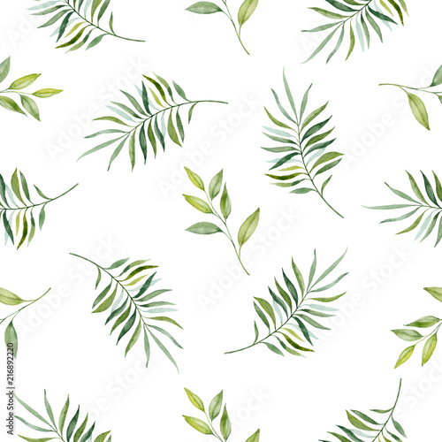 fototapeta na ścianę Watercolor hand painted seamless pattern of green leaves and branches..