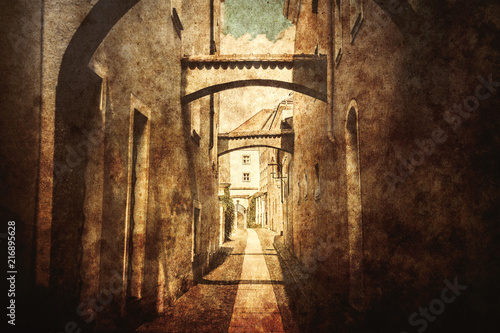 little street in East Germay. Image made in old color style.