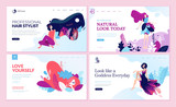 Set of web page design templates for beauty, spa, wellness, natural products, cosmetics, body care, healthy life. Modern vector illustration concepts for website and mobile website development.  - 216899283