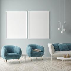Mock up poster on the blue wall, blue living room, 3d render, 3d illustration © mtlapcevic