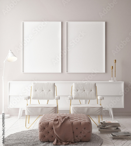 Mock up posters, hipster background, minimalism wall with two chairs, 3d render, 3d illustration  - 216900053