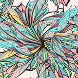 Abstract pattern with colorful ornamental floral wings design - 216900422