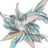 Art illustration with humming bird and colorful wings - 216900696