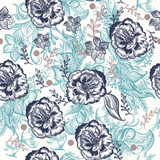 Beautiful floral pattern with doodles and rose flowers - 216901437